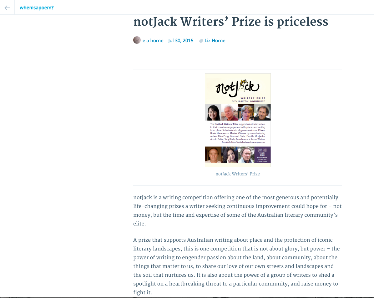A further, generous and inspirational blog piece that was circulated on notJack shortly after its launch.